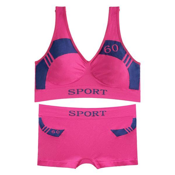 ست نیم تنه و شورت ورزشی زنانه کد 05-88831 رنگ صورتی