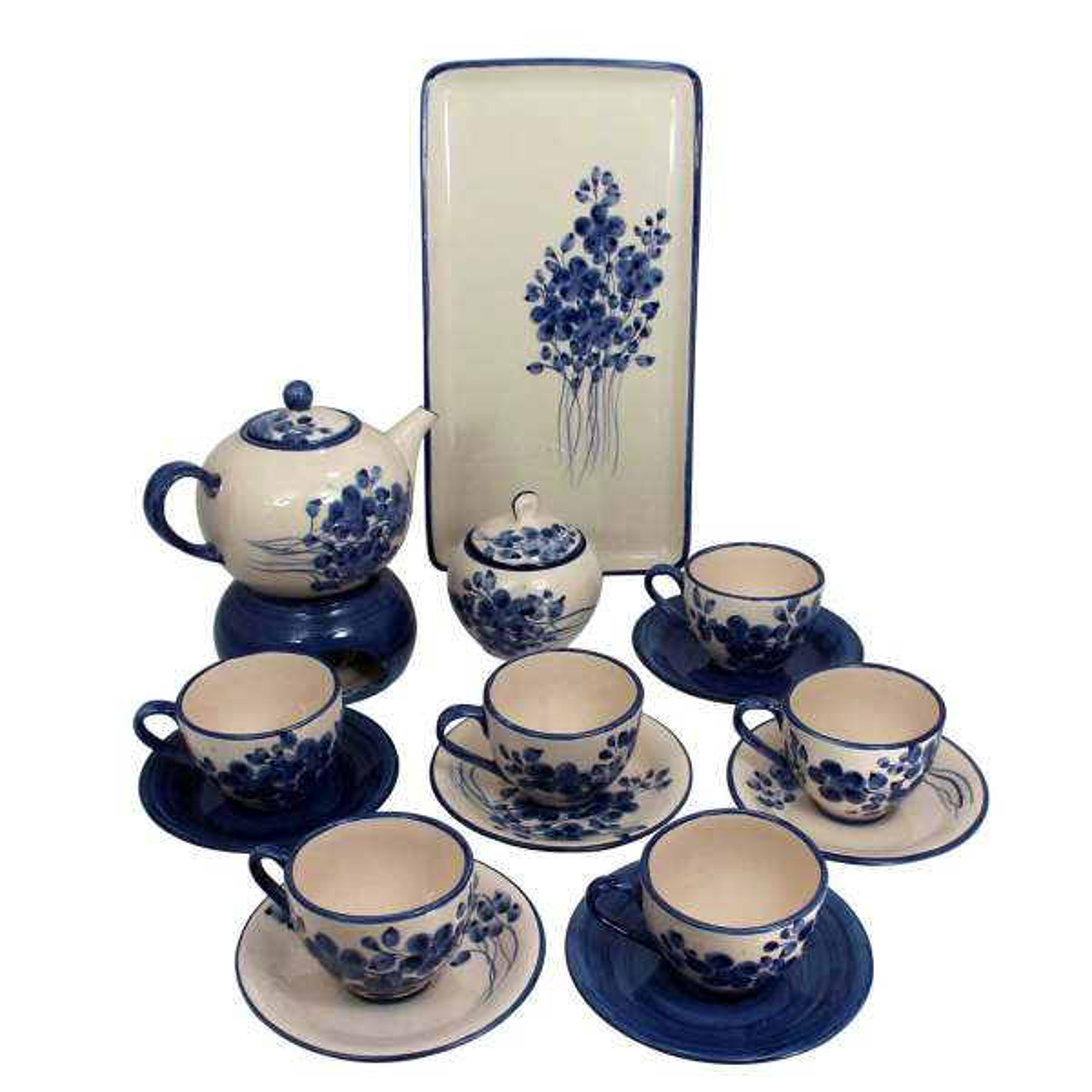 سرویس چایخوری 16 پارچه سرامیکی دست نگار طرح گل برونزا