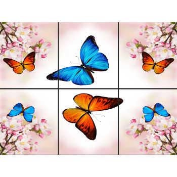 تایل سقفی آسمان مجازی طرح پروانه های رنگی کد 015 سایز 60x60 سانتی متر مجموعه 6 عددی