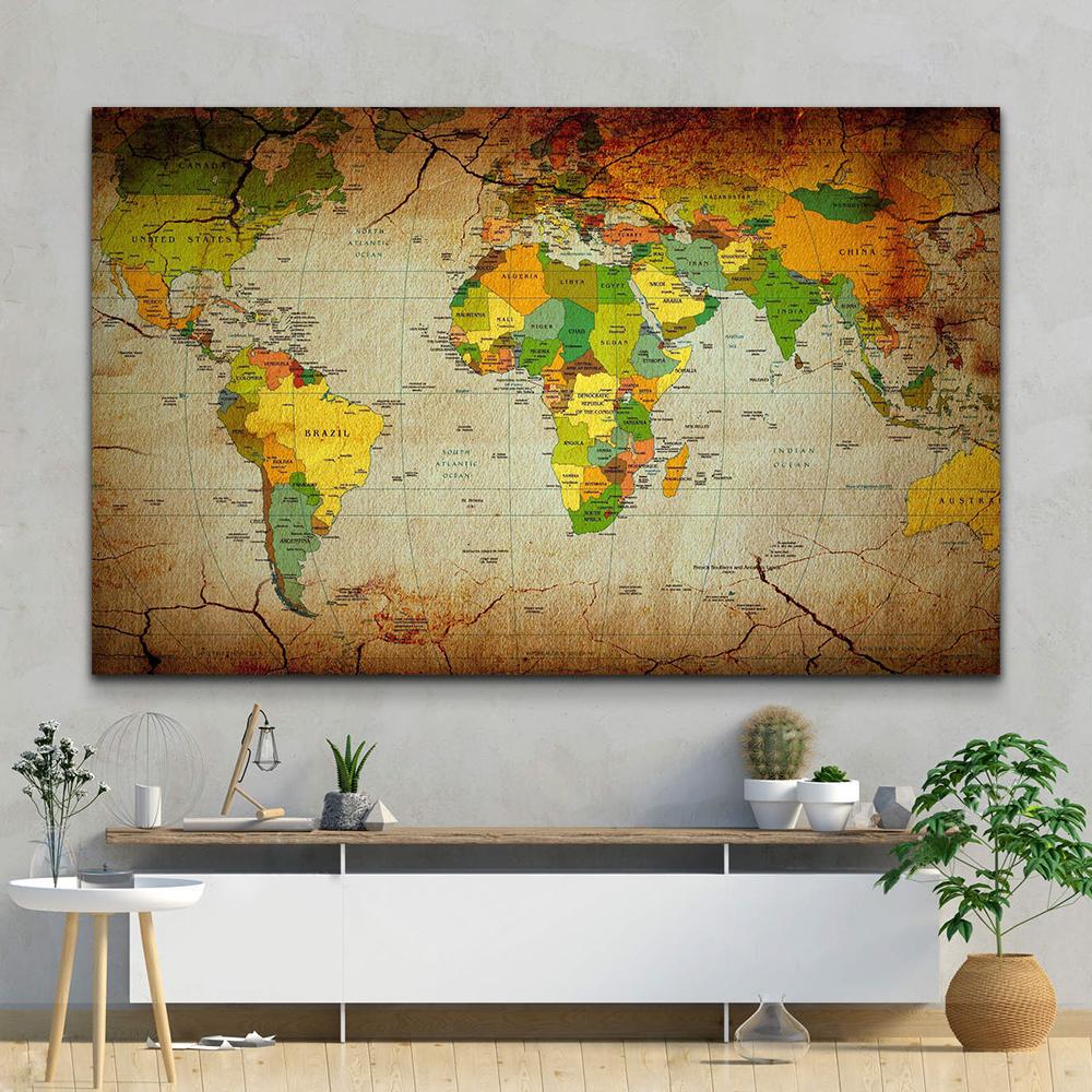 تابلو بوم مدل نقشه جهان کد MN22