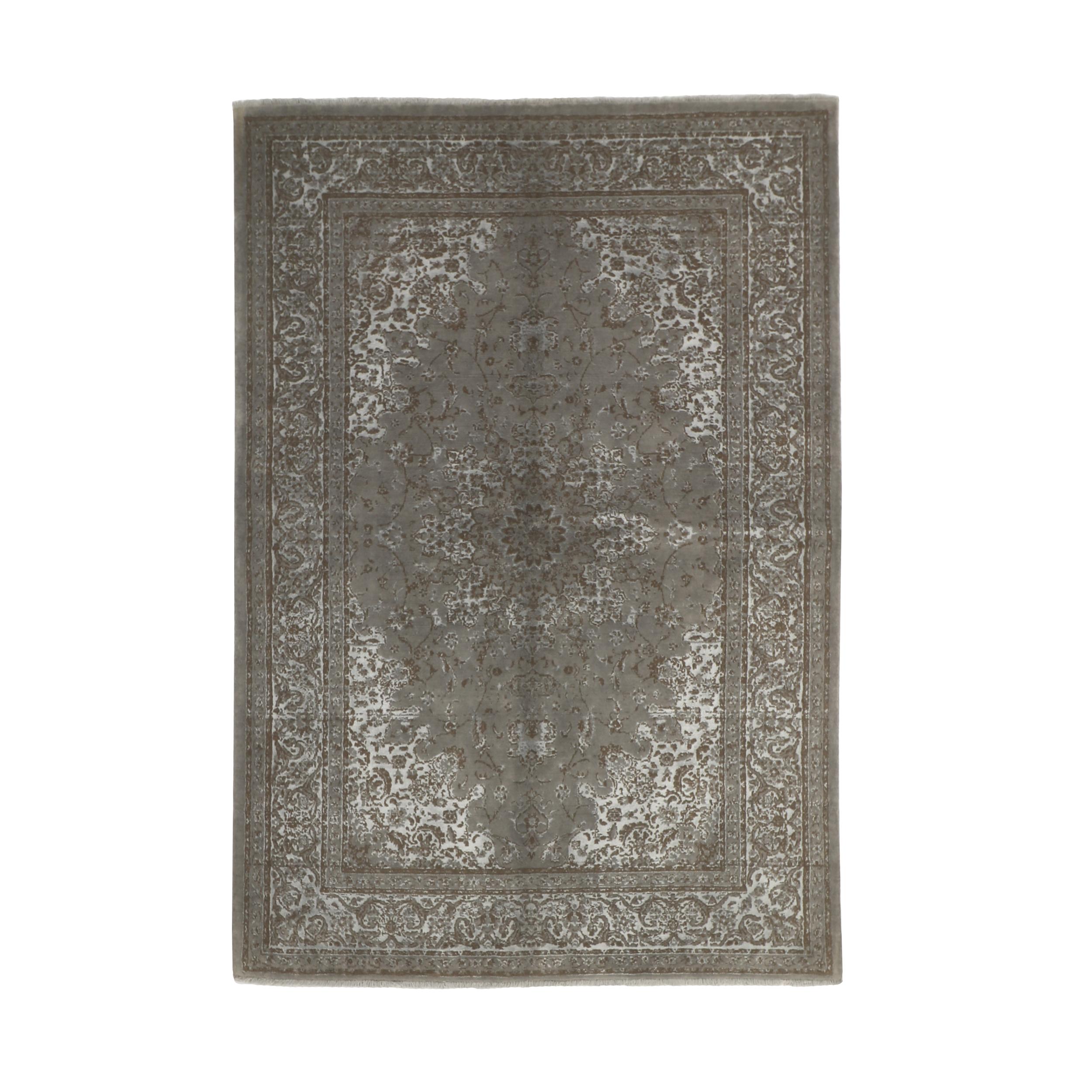 فرش نیمه دستبافت چهار متری مدل گل ابریشم کد 543909