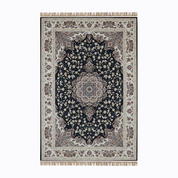 فرش ماشینی قالی سلیمان مدل پونه زمینه سورمه ای