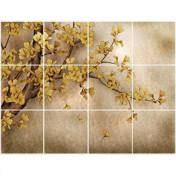 تایل سقفی طرح درخت با برگ طلایی کد 3D1498-12 سایز 60x60 سانتی متر مجموعه 12عددی
