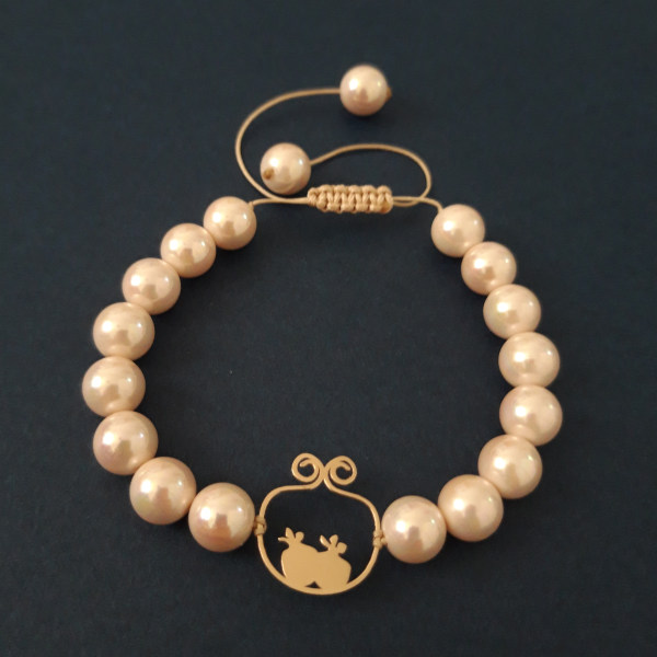 دستبند طلا 18 عیار زنانه الماسین آذر طرح انار مدل Ana03