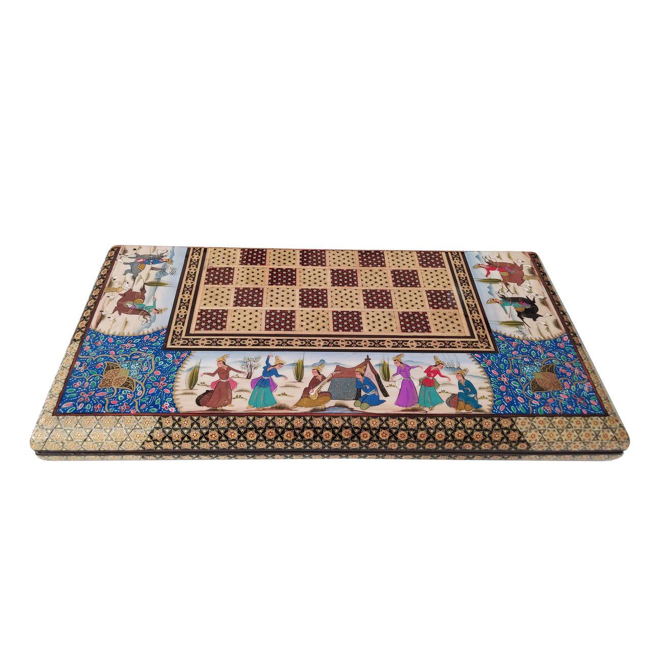 صفحه شطرنج خاتم کاری طرح مینیاتور کد LGM2-5050