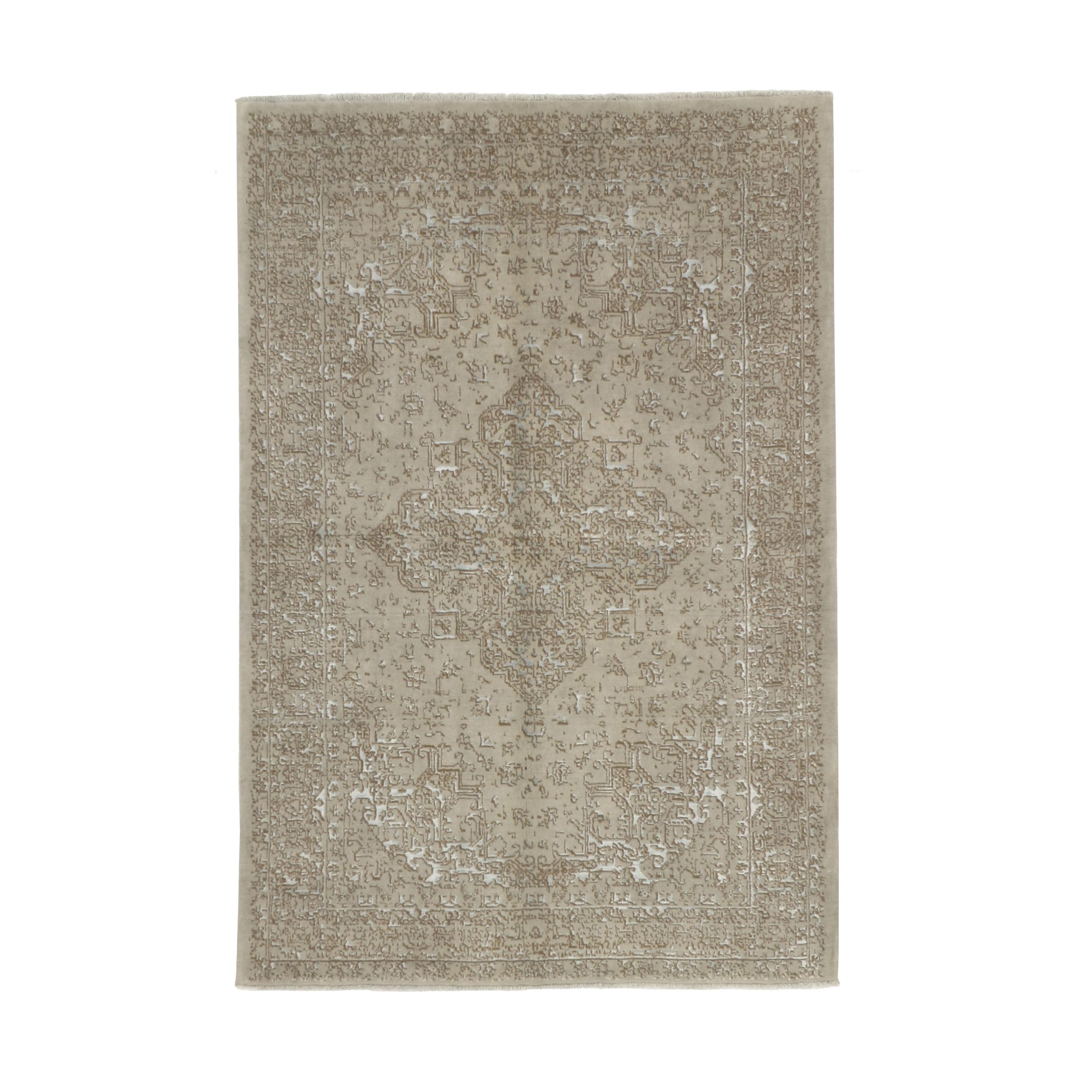 فرش نیمه دستبافت چهار متری طرح گل ابریشم کد 543912