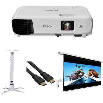 ویدئو پروژکتور اپسون مدل EB-E10 به همراه پرده نمایش 180 برقی پروژکتور اسکوپ و پایه پروژکتور اسکوپ و کابل HDMI
