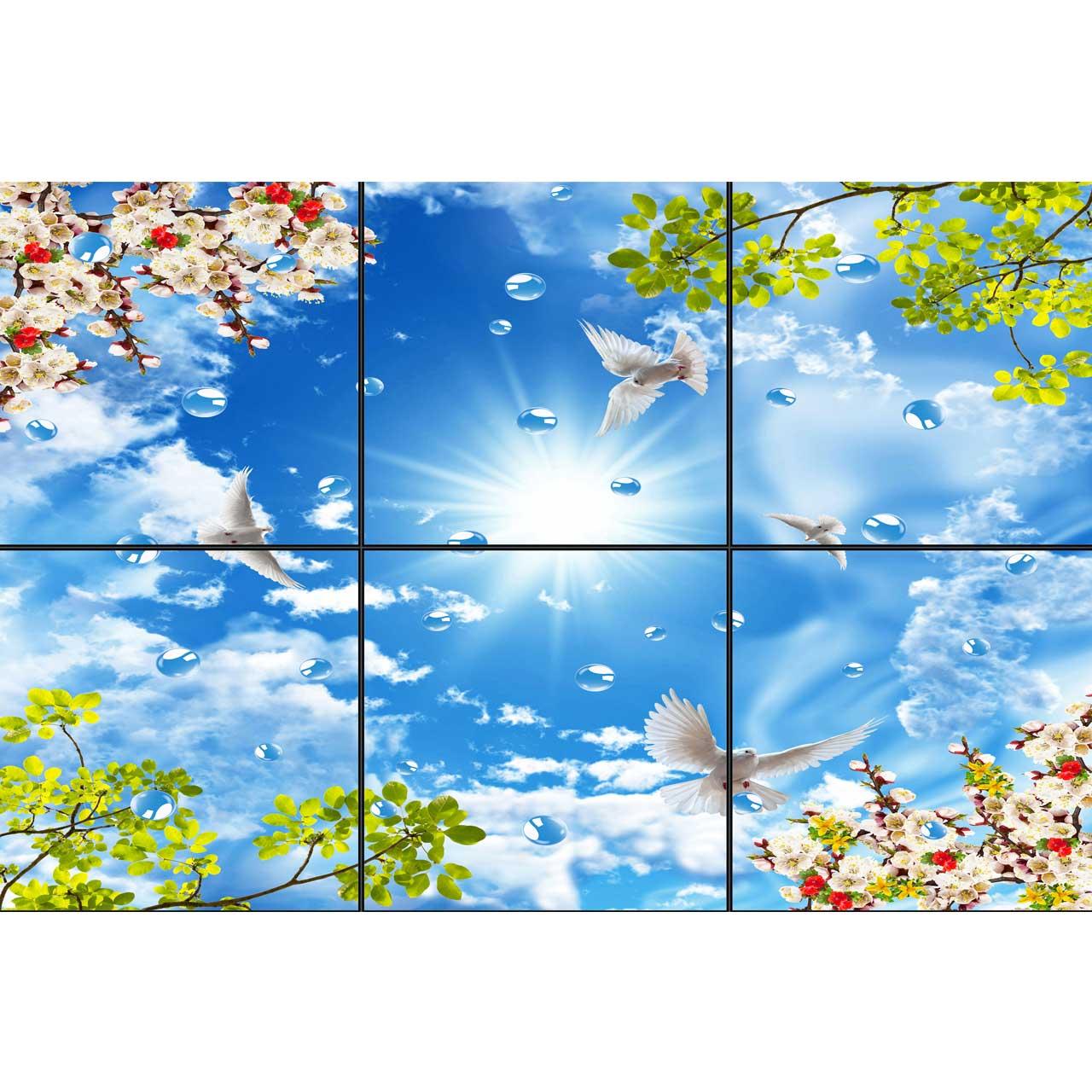 تایل سقفی آسمان مجازی طرح قطرات آب کد 0040 سایز 60x60 سانتی متر مجموعه 6 عددی