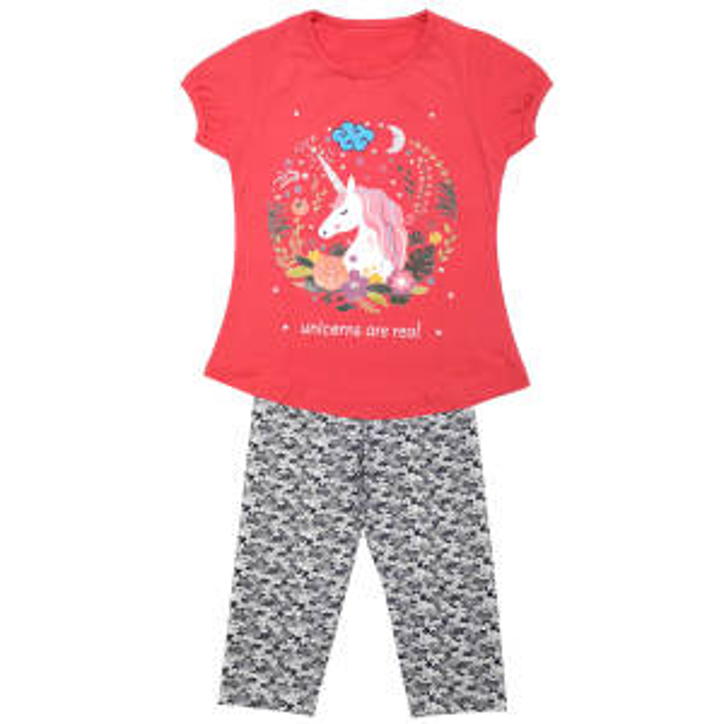 ست تی شرت و شلوارک دخترانه مدل اسب تک شاخ کد 3307 رنگ مرجانی