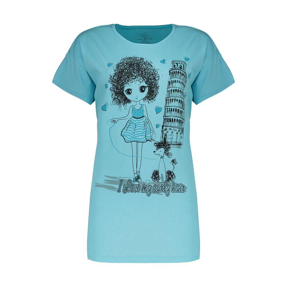تی شرت آستین کوتاه زنانهفمیلی ورطرح دختر و پیزا کد 0162 رنگ آبی روشن