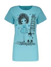 تی شرت آستین کوتاه زنانهفمیلی ورطرح دختر و پیزا کد 0162 رنگ آبی روشن -  - 1