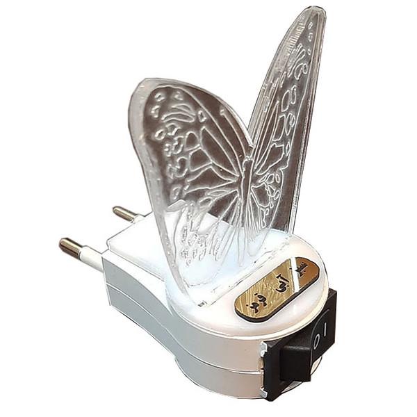چراغ خواب مدل پریزدار طرح پروانه سه رنگ