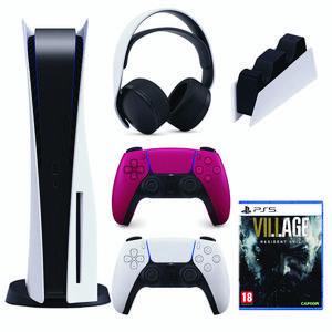 مجموعه کنسول بازی سونی مدل PlayStation 5 Drive ظرفیت 825 گیگابایت به همراه هدست و پایه شارژر و دسته اضافه و دیسک بازی