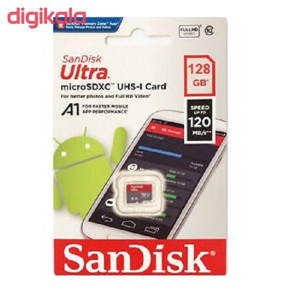 کارت حافظه microSDXC سن دیسک مدل Ultra A1 کلاس 10 استاندارد UHS-I سرعت 120MBps ظرفیت 128 گیگابایت main 1 2