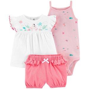 ست 3 تکه لباس نوزادی دخترانه کارترز طرح فلامینگو کد M359