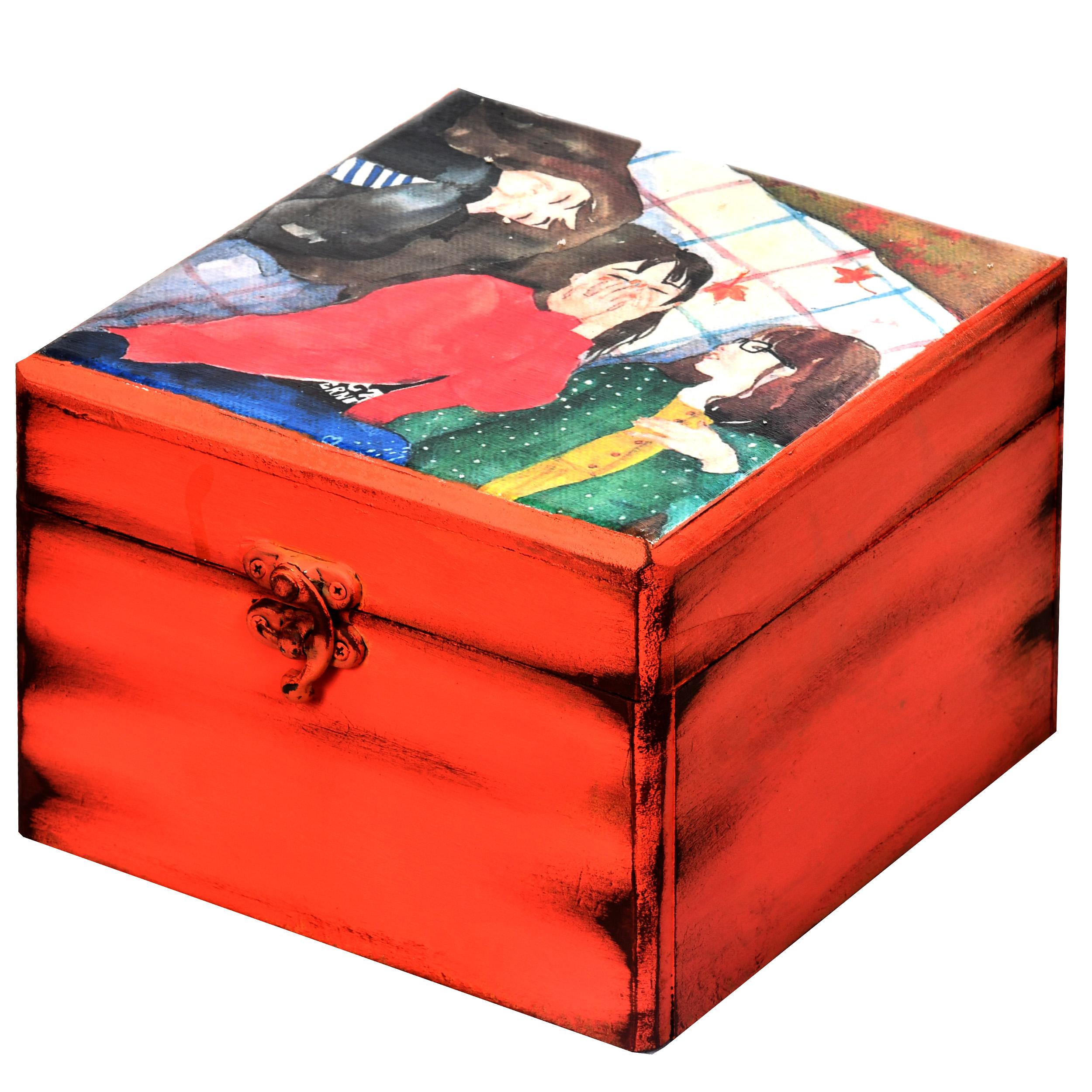 خرید                      جعبه هدیه چوبی طرح لبخند کد 02