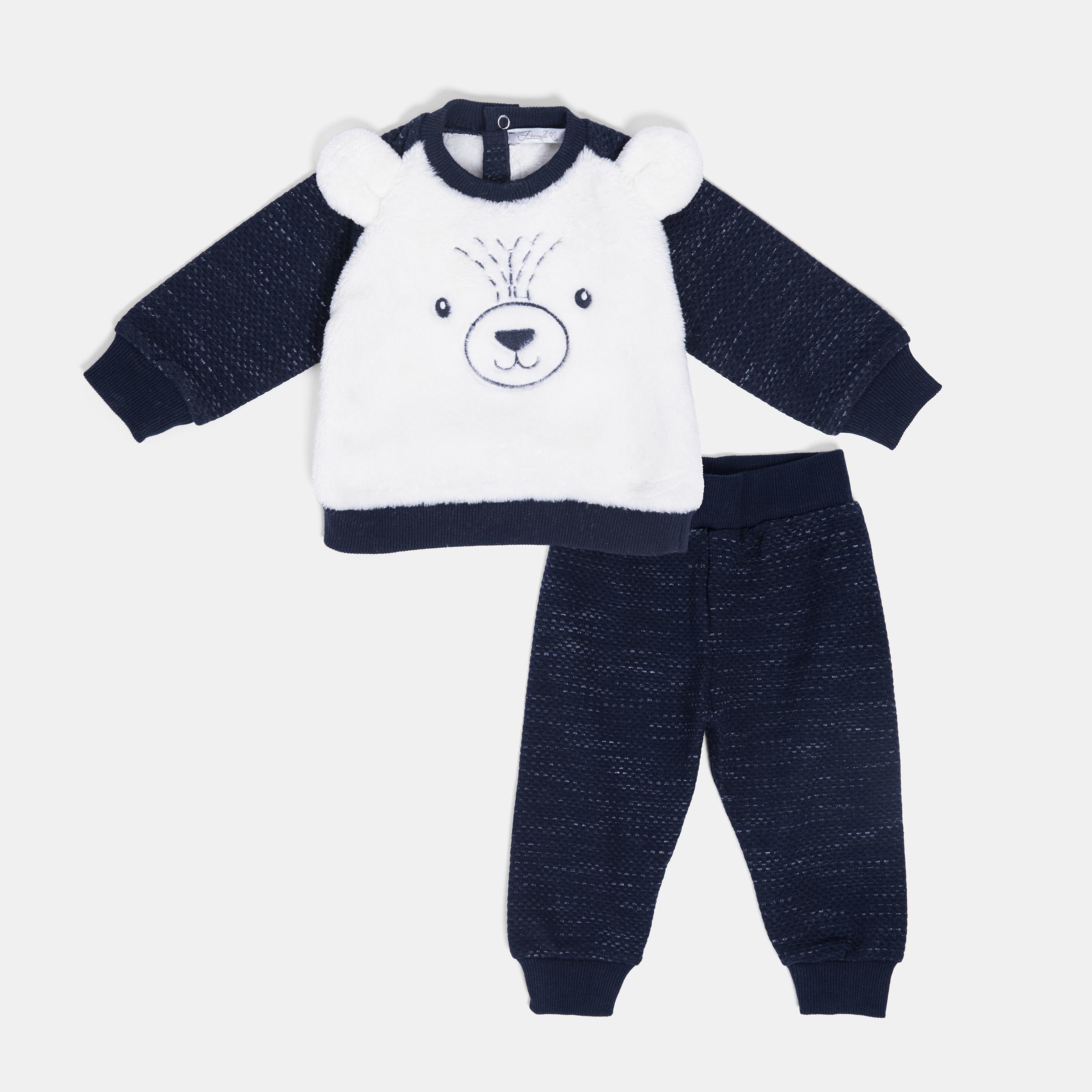 ست سویشرت و شلوار نوزادی پسرانه فیورلا مدل خرس قطبی کد 20506