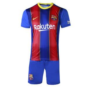 ست پیراهن و شورت ورزشی پسرانه طرح بارسلونا مدل مسی 2021 کد AB