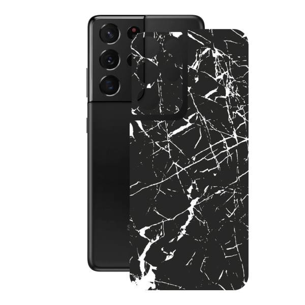 برچسب پوششی راک اسپیس مدل Marble-BK مناسب برای گوشی موبایل سامسونگ  Galaxy S21 Ultra