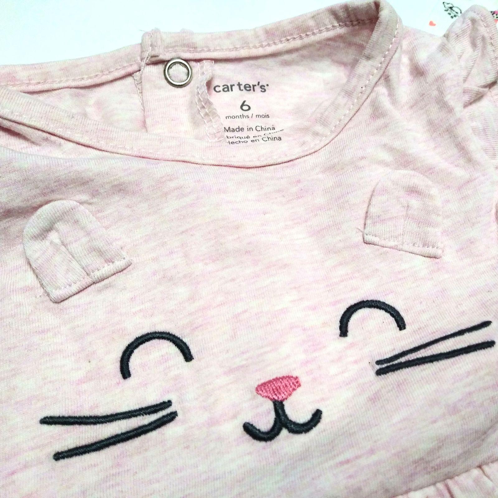 ست کت و پیراهن نوزادی دخترانه کارترز طرح گربه کد M437 -  - 7