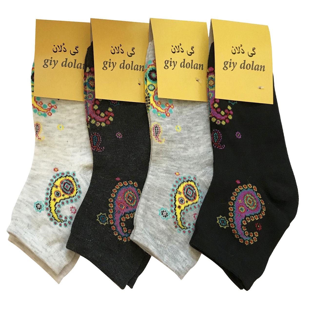 جوراب زنانه گی دلان طرح سنتی کد 066 مجموعه  4 عددی