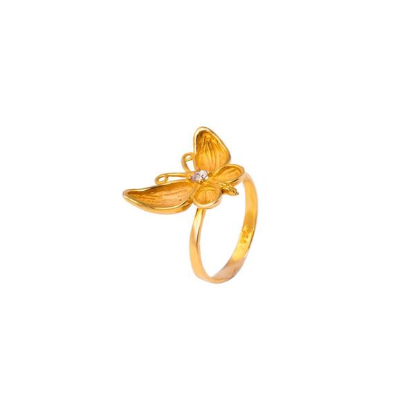 انگشتر طلا 18 عیار دخترانه طرح پروانه مدل DRC6-8d