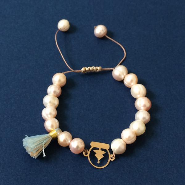 دستبند طلا 18 عیار دخترانه الماسین آذر طرح کریسمس مدل KAJ01