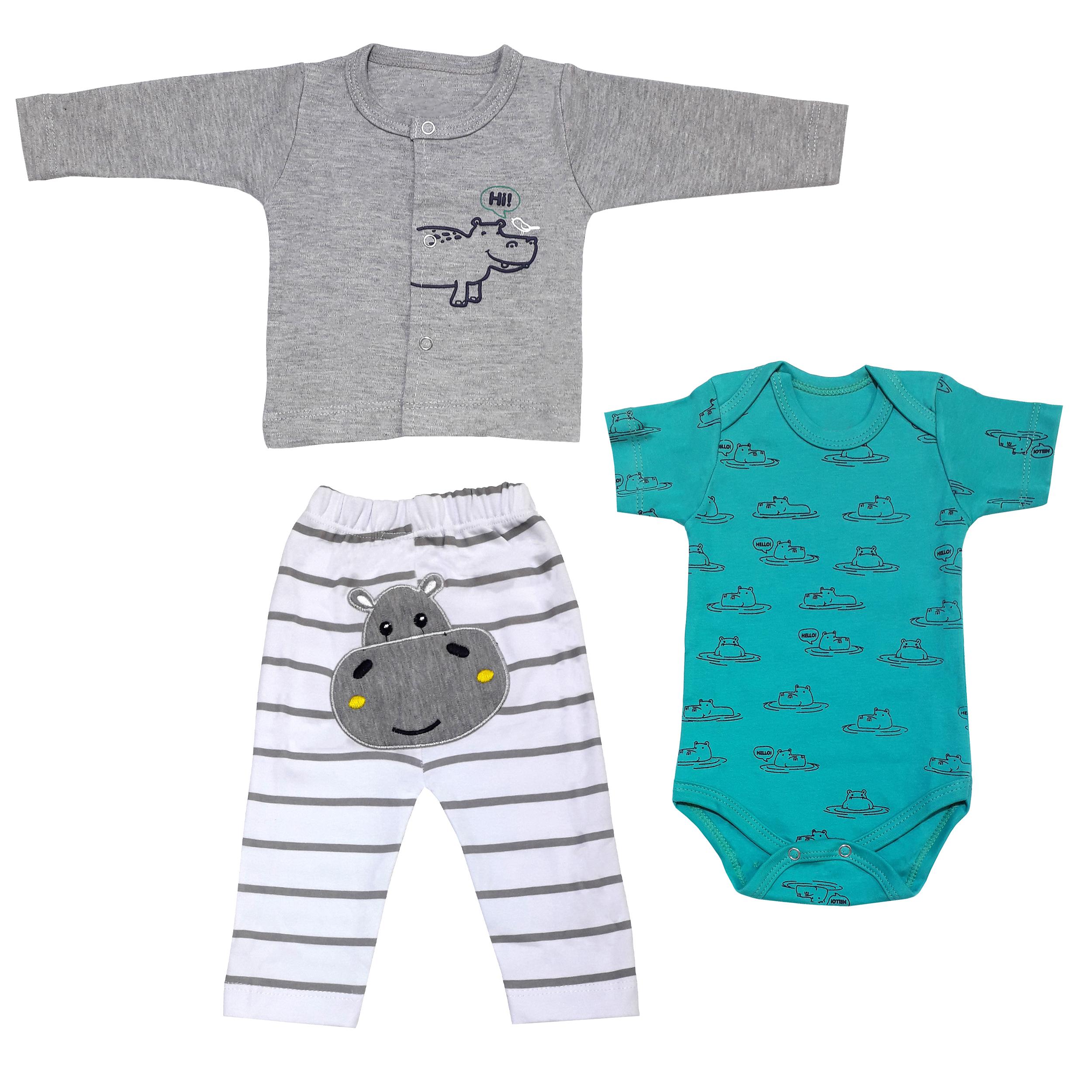 ست 3 تکه لباس نوزادی پسرانه طرح اسب آبی کد 3167