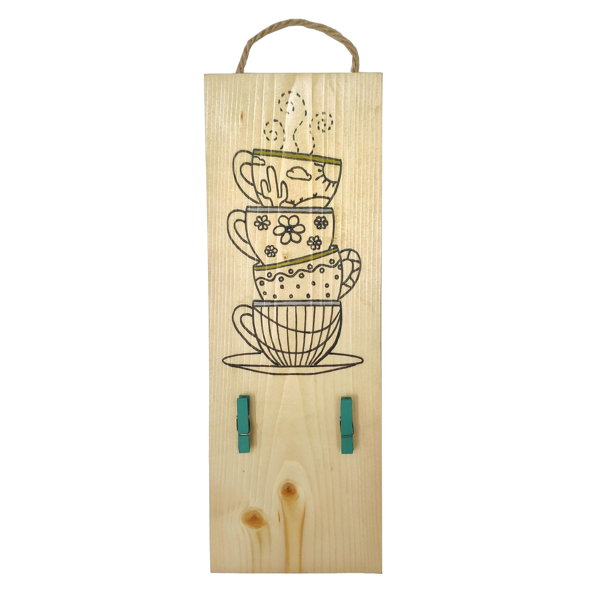 آویز چوبی طرح فنجان کد ۰۰۱