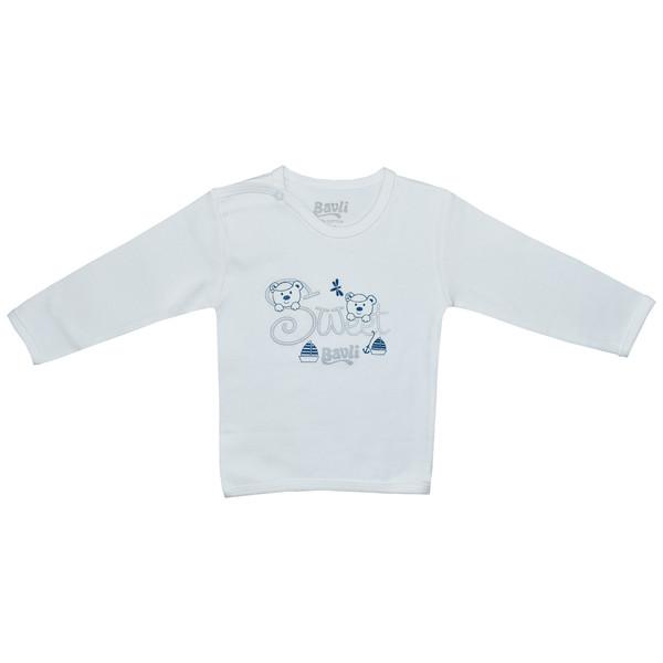 تی شرت آستین بلند نوزادی باولی مدل خرس و قایق