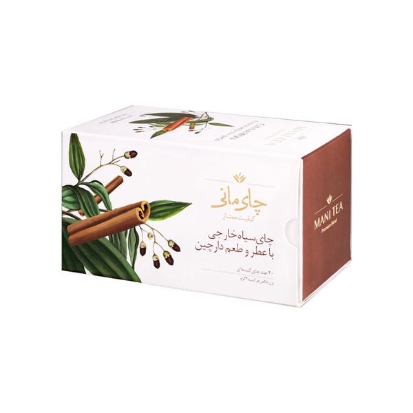 چای سیاه کیسه ای چای مانی با طعم دارچین بسته 20 عددی