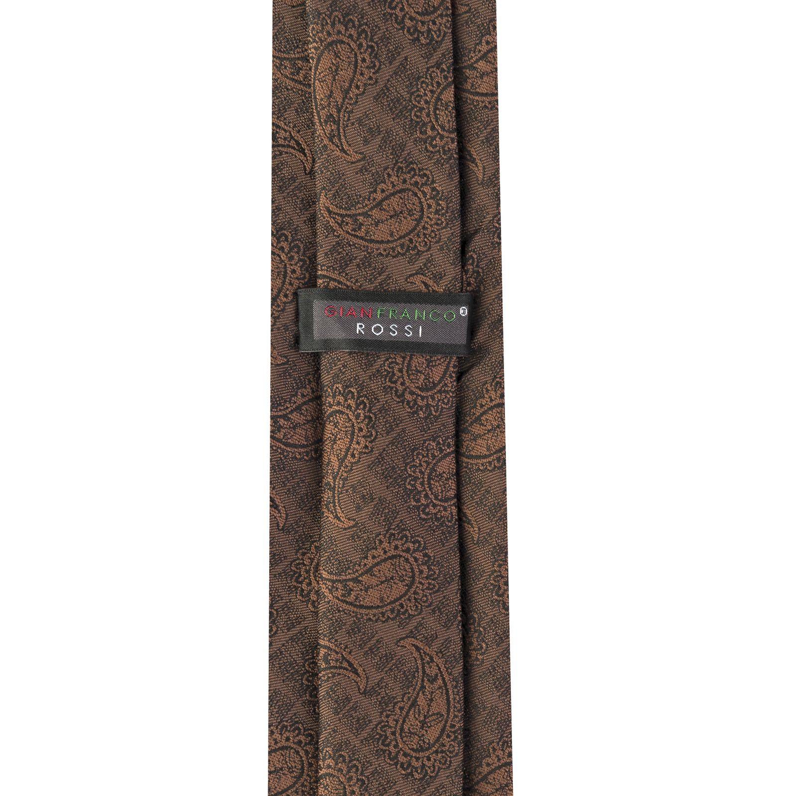 ست کراوات و دستمال جیب و گل کت مردانه جیان فرانکو روسی مدل GF-PA923-BR -  - 6