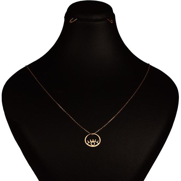 گردنبند طلا 18 عیار زنانه کرابو طرح چشم نظر مدل Kr7026