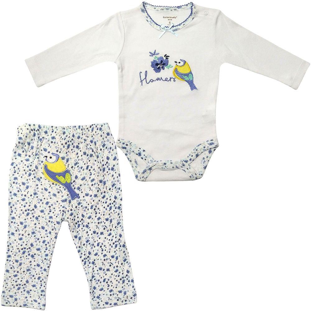 ست بادی و شلوار نوزادی دخترانه طرح پرنده کد M360