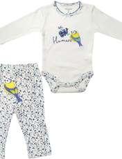 ست بادی و شلوار نوزادی دخترانه طرح پرنده کد M360 -  - 1