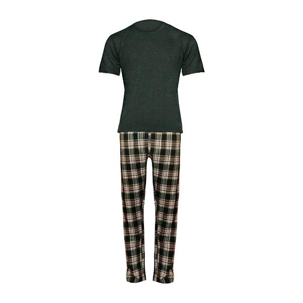 ست تی شرت و شلوار مردانه لباس خونه کد 990512 رنگ یشمی
