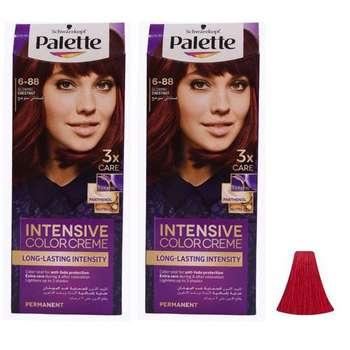 کیت رنگ مو پلت سری Intensive شماره 88-6 حجم 50 میلی لیتر رنگ قرمز یاقوتی مجموعه 2 عددی