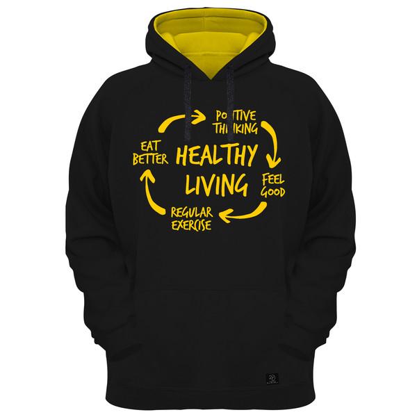 هودی مردانه 27 مدل healthy living کد AL01 رنگ مشکی
