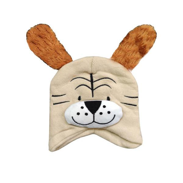 کلاه بافتنی بچگانه طرح سگ کد 30734 رنگ کرم