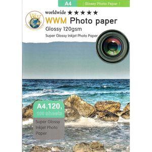 کاغذ عکس ورلدواید مدل Glossy سایز A4 بسته 100 عددی