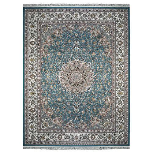 فرش زمرد مشهد طرح نایین آبی درباری36010
