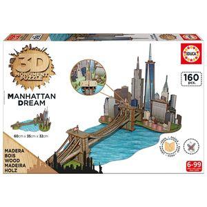 پازل سه بعدی 160 تکه ادوکا مدل Wooden Manhattan Dream