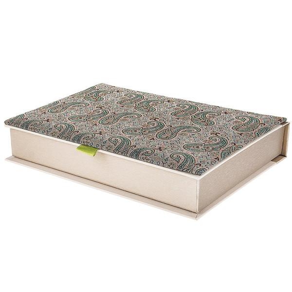 جعبه کارد و چنگال ترمه سنا مدل کتابی طرح جفت گل سبز