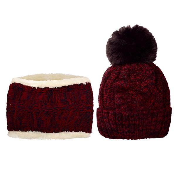 ست کلاه و شال گردن بافتنی بچگانه کد P0144-2