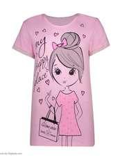 ست تی شرت و شلوار زنانه فمیلی ور طرح دختر کد 0222 رنگ صورتی -  - 6