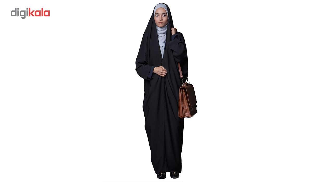 چادر اماراتی کرپ حریر اسود حجاب فاطمی مدل 201031hr