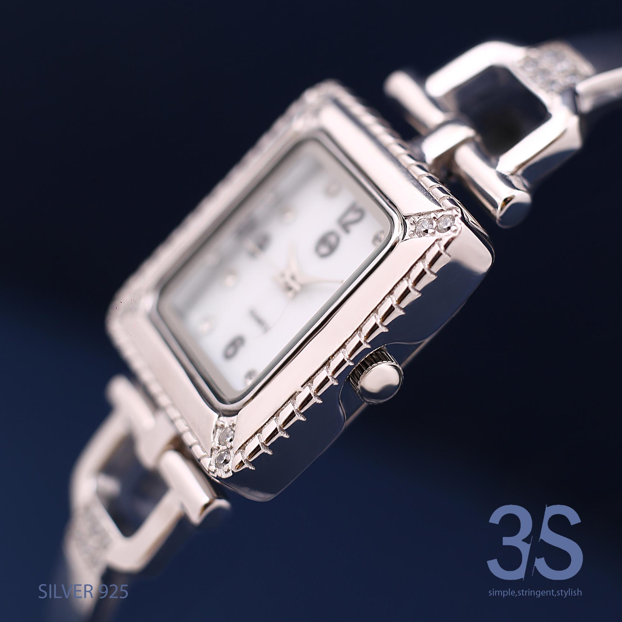 ساعت مچی عقربه ای نقره زنانه کد  007              ارزان