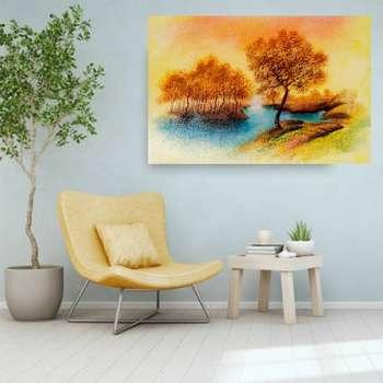 تابلو شاسی مدل طرح نقاشی طبیعت پاییزی مدل 157