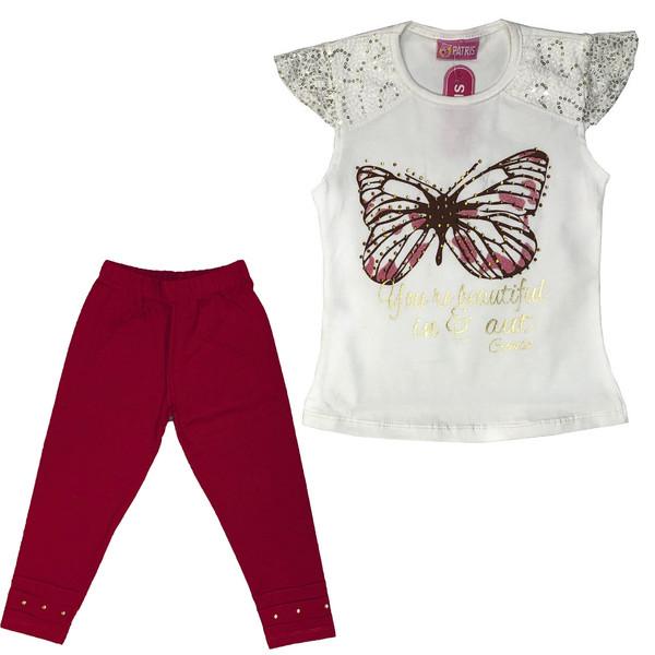 ست تی شرت و شلوارک دخترانه طرح پروانه مدل A&S7173