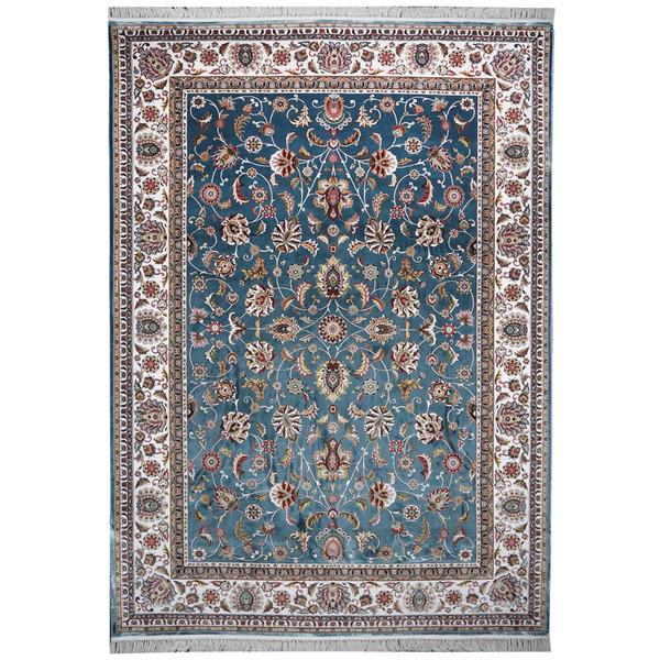 فرش ماشینی مهتاب پارسیان طرح افشان زمینه آبی